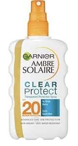 Garnier Ambre Solaire Clear Protect Transparent Sun Cream Protection Spray SPF20, 200ml £6 Prime (£4.20 s&s) + £4.49 Non Prime at Amazon