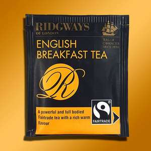 Ridgways of London 240 Fairtrade English Breakfast tea bags (best before end June 2022) for £5 delivered at Yankee Bundles
