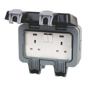 British General IP66 13A 2-Gang DP Weatherproof Outdoor Switched Socket, £9.99 (Free click and collect) at Screwfix