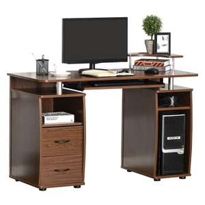 HOMCOM Computer Desk Office PC Table Workstation with Keyboard Tray and Drawers for £44.51 delivered (UK Mainland) @ Aosom
