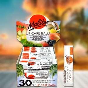 24 x Malibu Lip Balm Care Tropical Flavour SPF30 4g Sun Sticks - £4 @ Yankee Bundles