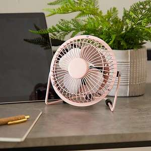 """Dunelm Metal 4"""" Pink USB Desk Fan - Chome also available - £3.50 (Free Click and Collect) @ Dunelm"""
