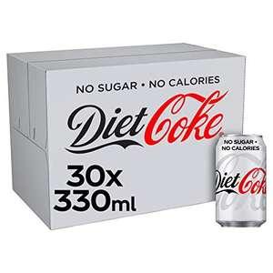 Diet Coke Cans, 30 x 330 ml £8.75 (+£4.49 non-prime) @ Amazon