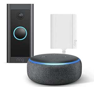 Ring Video Doorbell Wired + Plug-In Adapter by Amazon + Echo Dot (3rd Gen) – HD Video, Advanced Motion Detection, Plug-In Power £64 @ Amazon