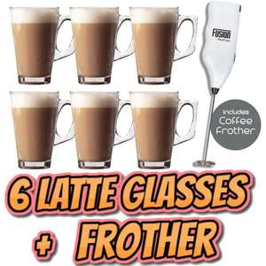 6 X Latte Coffee Glasses and Cappuccino Frother Set £8.95 delivered @ thinkprice / ebay