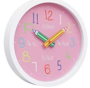 Argos Home Children's Clock - Pink now £5. with free click and collect from Argos