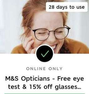 M&S opticians Free OCT eye test & 15% off glasses for M&S 'Sparks' Members - possibly account specific