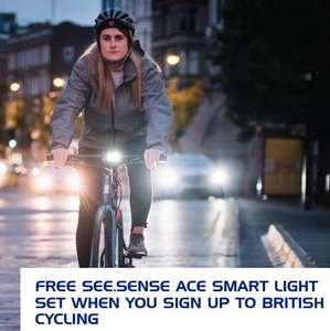 Free See.Sense smart bike light set when you sign up to British Cycling - £39.60 with direct debit / £44