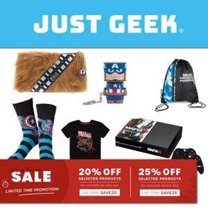 20% off Orders Under £50 / 25% off Orders Over £50 Using Voucher Codes @ Just Geek