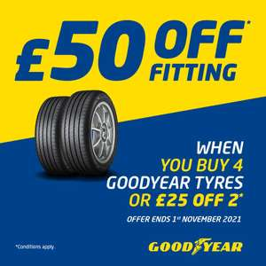 £50 off for 4 tyres or £25 for two Goodyear tyres @ ATS Euromaster