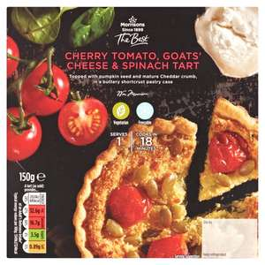Morrisons The Best Cherry Tomato Goats Cheese & Spinach Tart / Best Bacon & Camembert Tart 150g £1.50 or 3 for £3 at Morrisons