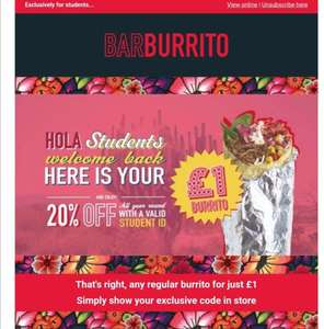 Any Regular Burrito for UNiDAYS users for £1 @ Barburrito