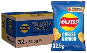 Walkers Cheese & Onion Vegetarian Crisps Box, 32.5 g (Case of 32 Bags) £7.80 (+£4.49 p&p non prime) @ Amazon