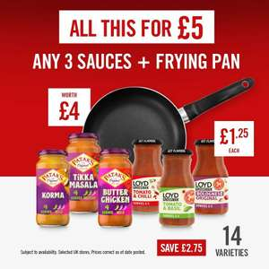 Frying Pan with 3 Patak's/Lloyd Grossman Sauces is £5/£4.50 For Students @ The Food Warehouse