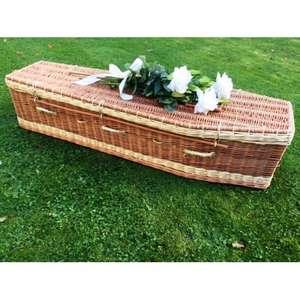 """Autumn Gold Premium Wicker / Willow Brown & Cream (Traditional) Coffin 5'6"""" £279 @ Coffin Company"""