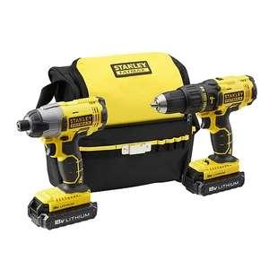 Stanley FatMax 18V 1.3Ah Li-ion Cordless Combi drill & impact driver FMCK465C2S-GB - inc 2 batteries = £85 with code (new B&Q members) @ B&Q