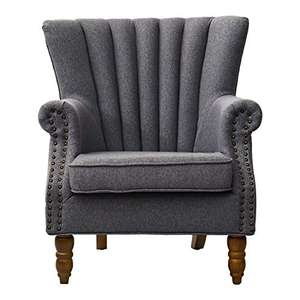 INMOZATA High-back linen fabric wingback oversized armchair in grey for £151.99 delivered @ Fukea Direct / Amazon