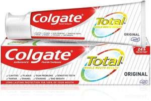 Colgate Total Original Antibacterial Fluoride Toothpaste 125ml £1.25 (+ £4.49 Non Prime / potential £0.99 S&S) at Amazon