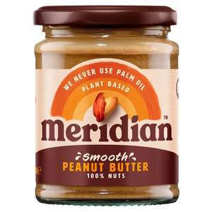 Meridian Peanut Butter Crunchy or Smooth 100% Nuts 280G - £1.25 (Clubcard Price) @ Tesco