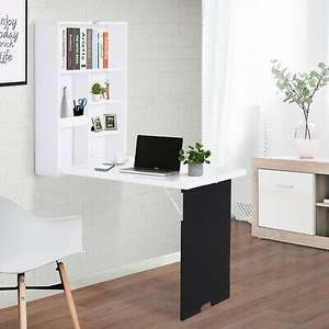 Compact Living Desk Solution Folding Wall-Mounted Drop-Leaf Table w/Chalkboard Now £45.59 Delivered From 2011homcom/eBay (Mainland UK)
