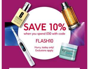 Save 10% when you spend £50 with Voucher code - online only @ Boots (exclusions apply)