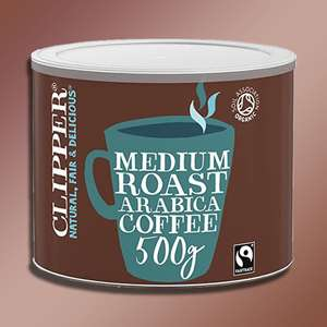 Clipper Medium Roast Organic Instant Arabica Coffee 500G Drum Best Before End September 2021 - £6 at Yankee Bundles