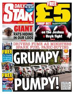 FREE £5 in shop Paddy Power bet Voucher for the Joshua Vs Usyk fight in today's Star, Mirror and Express.
