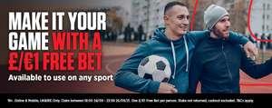 Score a £/€1 Free Bet on any Sports market (Selected Accounts) @ Ladbrokes