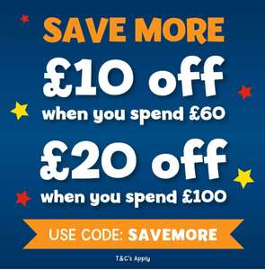 £10 off a £60 spend or £20 off a £100 spend with code Free delivery with £29.99 spend (Excludes Lego) @ The Entertainer