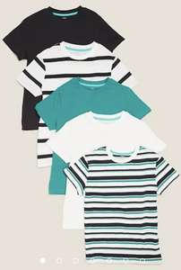 Kids 5pk Pure Cotton Striped & Plain T-Shirts 6-11yrs - £11.00 with free click and collect from Marks and Spencer