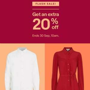 Flash Sale - get an extra 20% Off the up to 70% Off Brand Outlet @ eBay