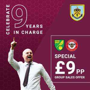 £90 for a group of ten to a Premier League match at Turf Moor throughout the month of October @ Burnley FC