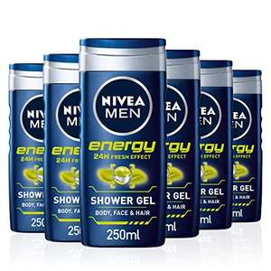 NIVEA All-In-1 Men Shower Gel Energy, Pack of 6 (6 x 250 ml) £5.70 or £4.56 S&S (+£4.49 NP) Delivered @ Amazon