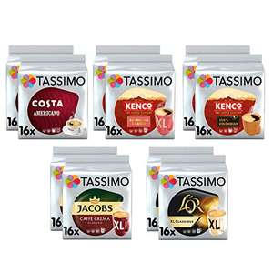 Tassimo Black Coffee Pods Bundle - Pack of 10 = 160 servings £26.34 (Equal to £2.63 per pack / £0.16 per coffee) @ Amazon