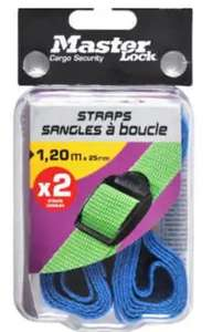 Clearance - Master Lock Coloured Luggage Straps - 2 x 1.2m £1.50 collection at Homebase