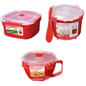 Sistema Microwave Steamer with removable basket 2.4L £3 or Microwave Rice Steamer £4 or Sistema Noodle Bowl £2 @ Tesco