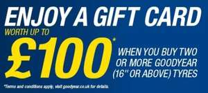Upto £100 Amazon or John Lewis vouchers when buying 2 or more Goodyear Tyres with code @ HiQ Tyres