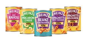 Heinz Tinned Meals Cans Beanz Sausages/Macroni Cheese/Beef Ravioli etc are 2 For £1.10 @ Farmfoods