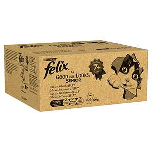 Felix As Good As It Looks Mixed Variety Senior Cat Food, 120 Pouches, 120 x 100g £38.50 (£28.87 subscribe & save) @ Amazon
