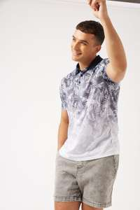 Mens White Polo Top with Navy Floral Fade Detail £3.24 with free next day delivery using code S-XXL @ Burtons