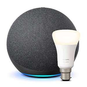 Echo (4th generation) NOT echo DOT + Philips Hue White Smart Bulb - £64.99 at Amazon