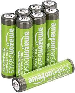 Amazon Basics AAA High-Capacity Rechargeable Batteries, (8-Pack) Pre-charged ( cheaper with S&S) - £5.82 Prime (+£4.49 Non-Prime) @ Amazon