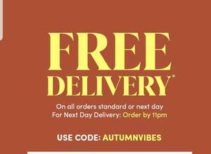 Free Delivery On All Orders Standard Or NEXTDAY With Code AUTUMNVIBES, Today Only @ Debenhams