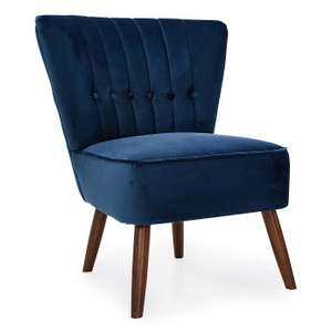 Isla Velvet Occasional Cocktail Chair in various colours for £97.30 delivered @ Dunelm