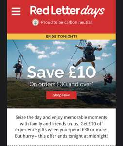 £10 off a £30 + spend @ Red Letter Days