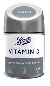 Boots Vitamin D 10 µg 90 tablets (3 month supply) £1.15 + £1.50 C&C @ Boots