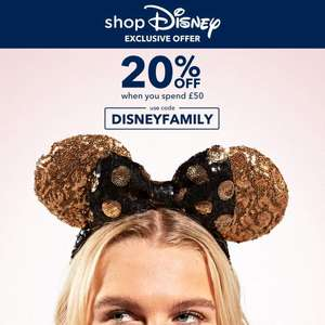 20% off Selected Items when you spend £50 with code (Exclusions Apply) @ shopDisney