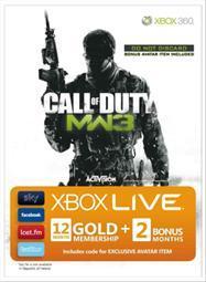 COD MW3 branded Xbox LIVE 12+2 months free Gold membership + Avatar - £36 @ Tesco