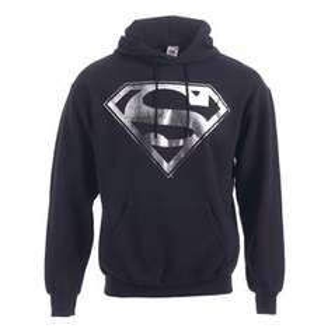 Superman Distressed Silver Foil Logo Men's Hoodie (Black) @ Play £15.99