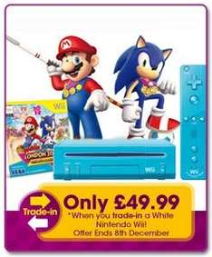 Get A Blue Nintendo Wii Console (Limited Edition) Including  Mario & Sonic At The London 2012 Olympic Games (£37.99 instore) for Only £49.99 When You Trade In Your Old White Nintendo Wii Console @ Game